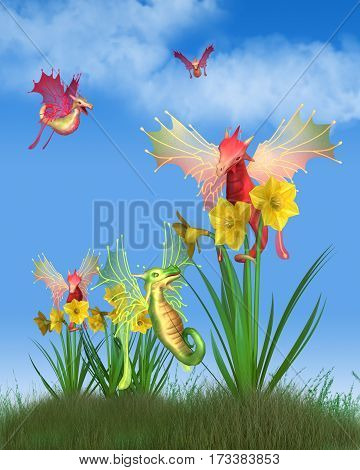 Fantasy illustration of cute red and green Welsh dragons flying around yellow daffodils on a sunny St David's Day (patron saint of Wales, on 1st March), digital illustration (3d rendering)