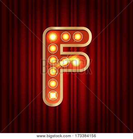 Realistic Retro Gold Lamp Bulb Font Letter F. Part Of Alphabet In Vintage Casino And Slots Style.  V