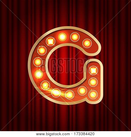 Realistic Retro Gold Lamp Bulb Font Letter G. Part Of Alphabet In Vintage Casino And Slots Style.  V