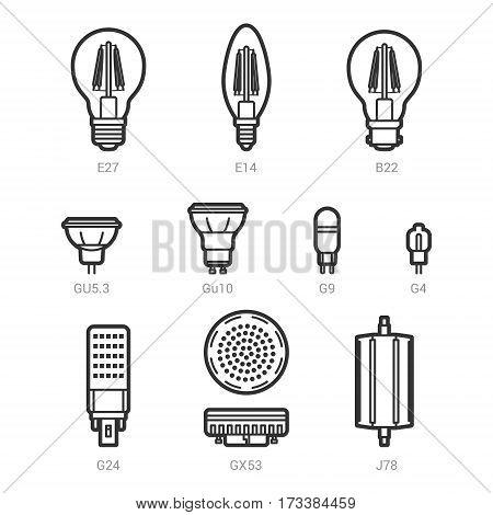 LED light lamp bulbs vector outline icon set on white background