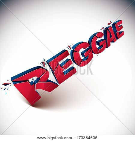 3D Shattered Vector Red Reggae Word Created With Refractions. Dimensional Inscription With Specks Is