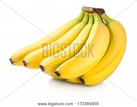 Bananas. Bunch of fruits isolated on white background