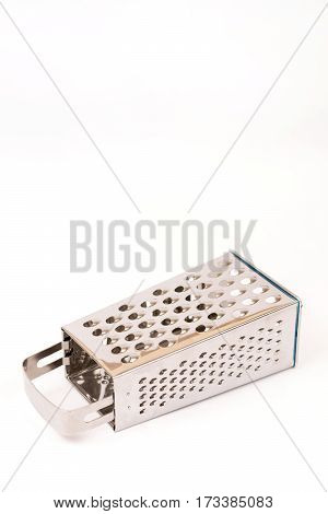 Brand New Metal Grater On The White Background With Copy Space