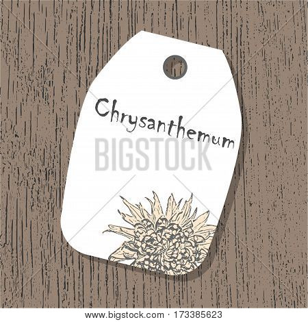 Vector tag template with chrysanthemum flower in pastel colors on the wooden background. Vintage eco design for lables, greeting cards, invitations, gifts decoration, sales design, scrapbooking.