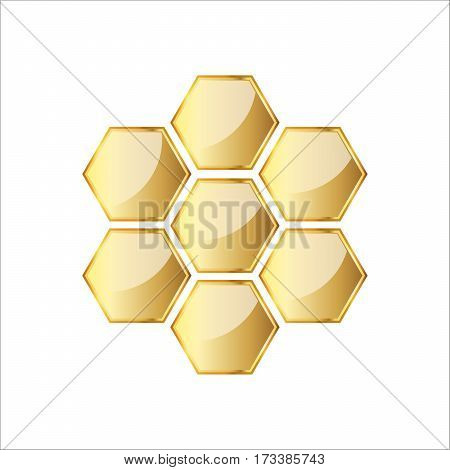 Golden glossy honeycomb icon. Vector illustration. Honeycomb isolated over white background.