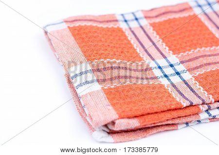 Orange Brand New Kitchen Dishtowel Over White Background