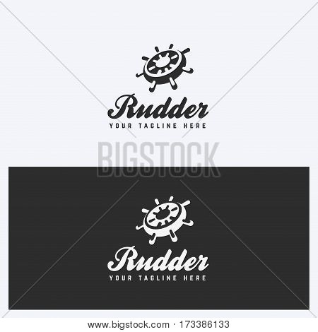 Rudder Helm Logo Design Template. Sailing Nautical Theme. Simple and Clean Style. Black and White Colors. Vector.