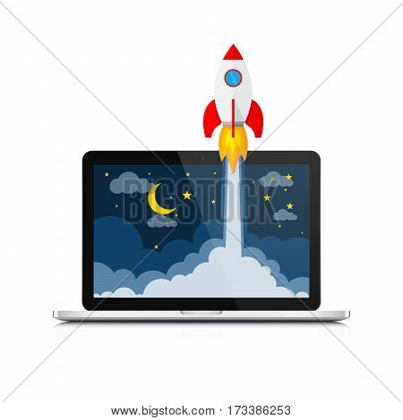 The spacecraft crashes outside laptop screen . Vector Illustration. Concept of business start-up.
