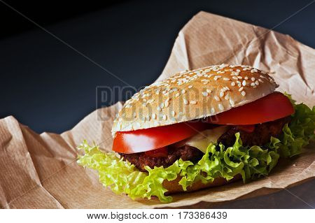Tasty cheeseburger with tomatoes and fresh green lettuce