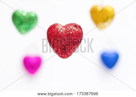 colorful heart shapes for valentine day mean love