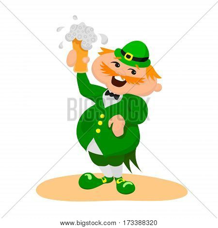 Saint Patrick's day. Happy englishman with glasses of beer. Vector illustration on white background.