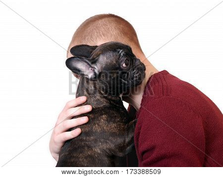 A man hugging a dog. White background