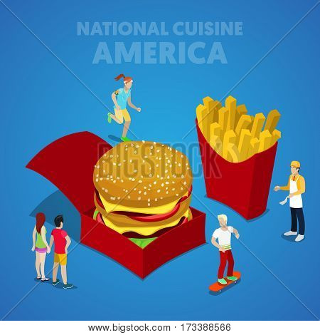 Isometric USA National Cuisine with Fast Food and American People. Vector 3d flat illustration