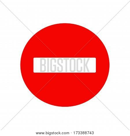 No entry traffic sign icon. Isolated vector on white background.