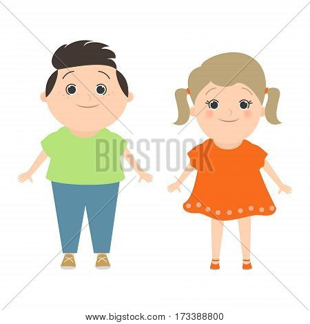 Children. Boy and girl Caucasian isolated on white background. Cartoon vector funny plush toys. cartoon Vector