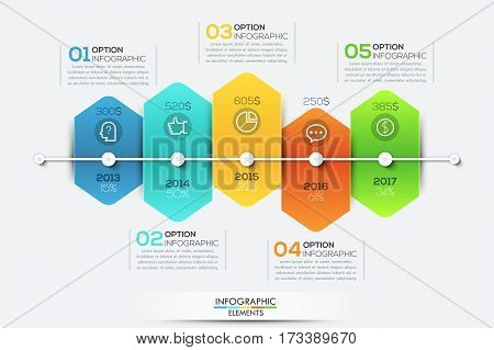 Infographic design template with timeline and 5 connected hexagonal elements, annual companys revenue growth concept, business development steps. Vector illustration for presentation, brochure.