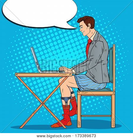 Pop Art Smiling Man Working Late at Home with Laptop. Vector illustration