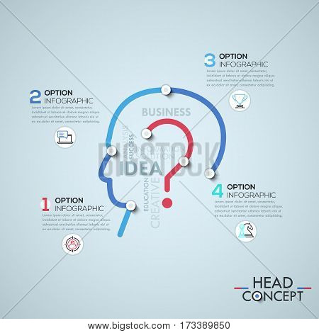 Infographic design template with elements connected by lines in shape of human head and question mark, business problem solving concept. Vector illustration for corporate website, presentation, ad.