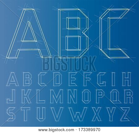 Wireframe Alphabet Font. Engineer or Architect Style. 3D Rendering Vector Illustration