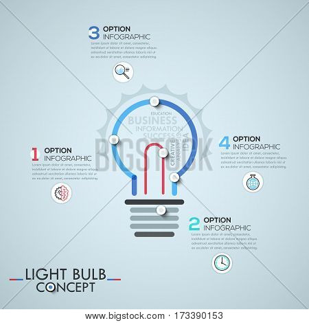 Infographic design template with elements connected by lines in shape of light bulb, idea generation process concept. Vector illustration for corporate website, banner, presentation, report.