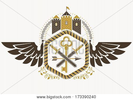 Vector vintage heraldic coat of arms created in award design and decorated using eagle wings and medieval stronghold