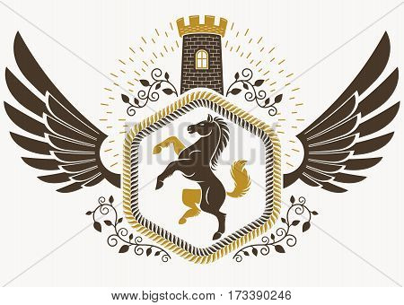 Heraldic Coat of Arms decorative emblem vector illustration of horse and medieval stronghold