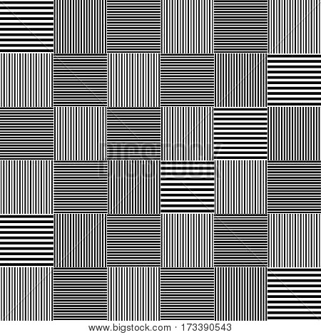 Black and white striped squares simple patchwork blanket seamless pattern, vector background