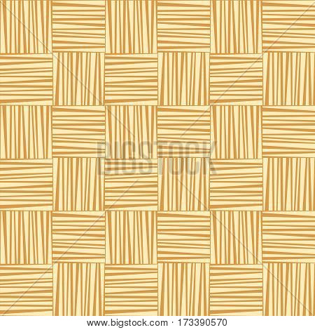 Yellow straw woven striped geometric seamless pattern, vector background