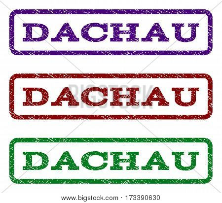 Dachau watermark stamp. Text tag inside rounded rectangle frame with grunge design style. Vector variants are indigo blue red green ink colors. Rubber seal stamp with dirty texture.