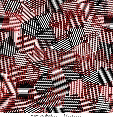 Black white red striped squares chaotic squares seamless pattern, vector background
