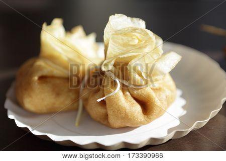Stuffed Pancakes On Plate