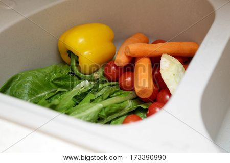 Vegetables In The Sink