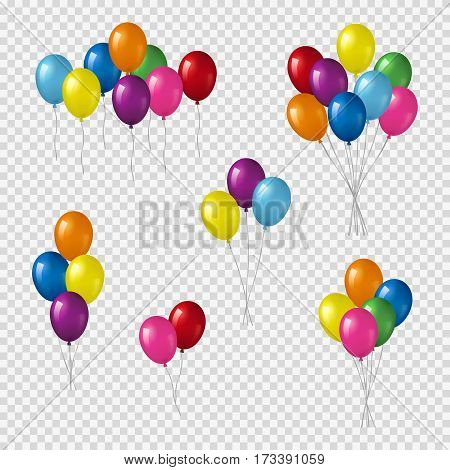 Bunches and groups of colorful helium balloons isolated on transparent background.