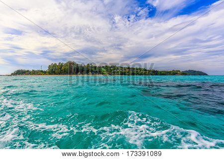 A View of Koh Lipe Island from the Boat Satun Thailand