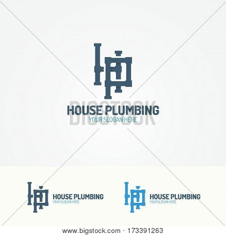 Plumbing service logo set with pipelines for used plumbing and heating company, sanitary and hygiene firm, fix and repair leak and pipe etc. Vector Illustration