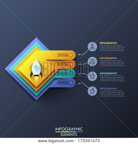 Infographic design template with 4 squared layers and space rocket take off in center on dark background. Steps of startup launch business concept. Vector illustration for website, presentation.