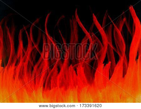 Fire fiery hot red orange watercolor drawn isolated on black abstract background template