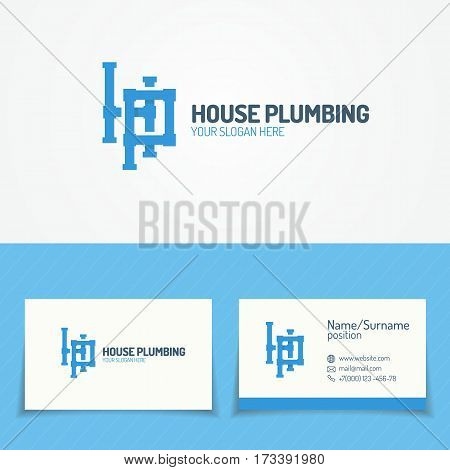 Plumbing service logo set with pipelines and business card for used plumbing and heating company, sanitary and hygiene firm, fix and repair leak and pipe etc. Vector Illustration
