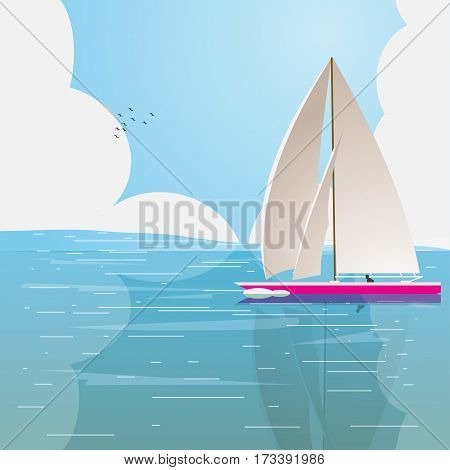 Lonely boat in the ocean on a background of clouds. Vector illustration
