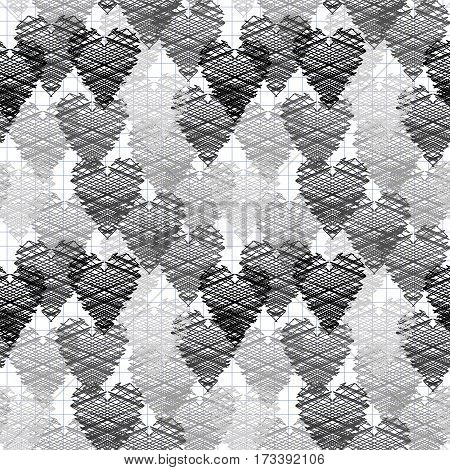 Seamless pattern of the shaded shaded black and white hearts. Vector illustration