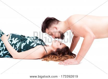 Husband Kissing Her Pregnant Lying Wife