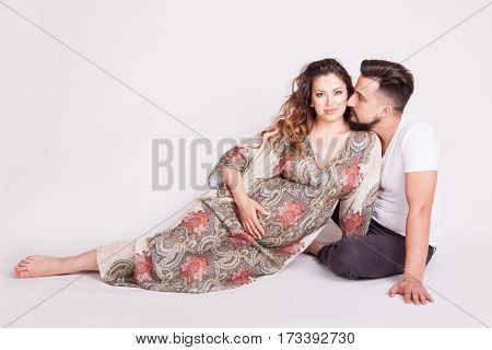 In Love Couple Where The Wife Is Pregnant