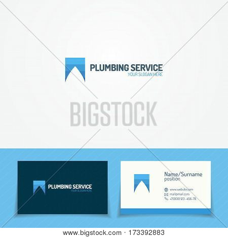 Plumbing service logo set with water drop and business card for used plumbing and heating company, sanitary and hygiene firm, fix and repair leak and pipe etc. Vector Illustration