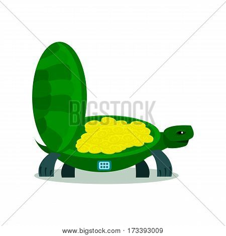 Cute turtle with coin, turtle safe icon isolated on a white background