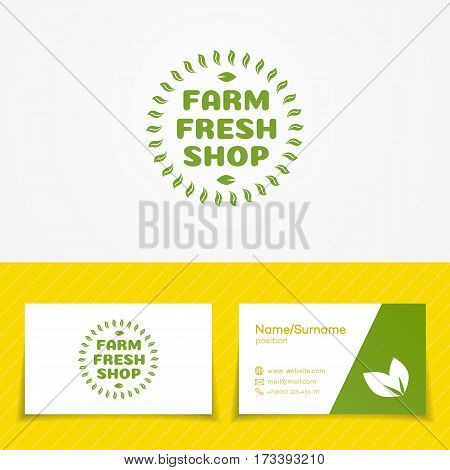 Farm fresh shop logo set with green leaves use for natural product market, vegan food store, ogranic shop and etc. Vector Illustration