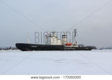 Saint-Petersburg, RUSSIA - Feb 8 2017: Russian diesel-electric icebreaker