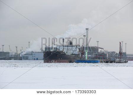 Saint-Petersburg, RUSSIA - Feb 8 2017: Oil Chemical Tanker