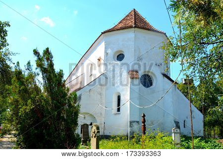 Tower of old saxon evangelic church in Halmeag. In Transylvania there are many saxon churches. This church is 800 years old.