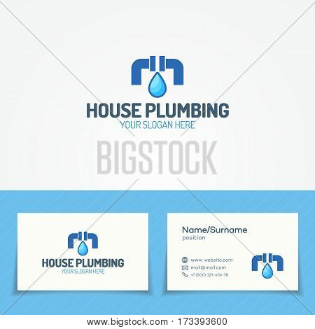 House plumbing service logo set with leak of pipe and water drop for used plumbing and heating company, sanitary and hygiene firm, fix and repair leak and pipe etc. Vector Illustration