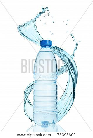 Bottle of still healthy water with splashes on white background